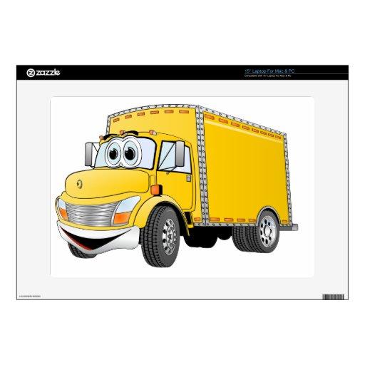 Dibujo animado amarillo del camión de reparto portátil 38,1cm skin