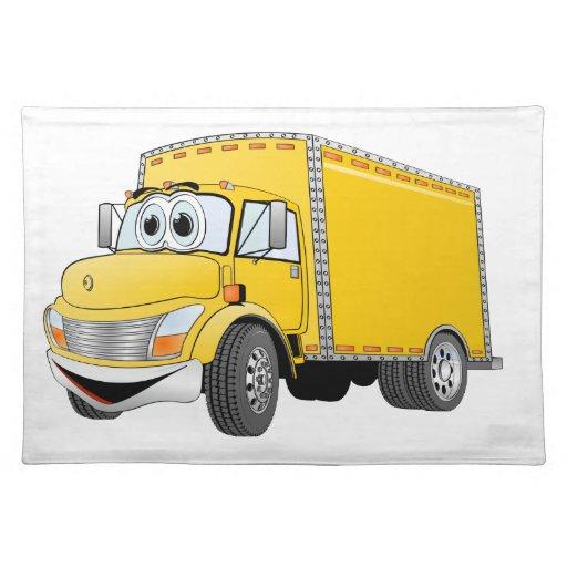Dibujo animado amarillo del camión de reparto mantel