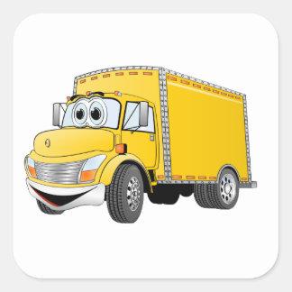 Dibujo animado amarillo del camión de reparto pegatina cuadrada