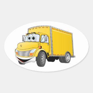 Dibujo animado amarillo del camión de reparto pegatina ovalada