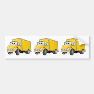 Dibujo animado amarillo del camión de reparto pegatina para auto