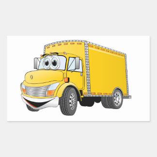 Dibujo animado amarillo del camión de reparto pegatina rectangular
