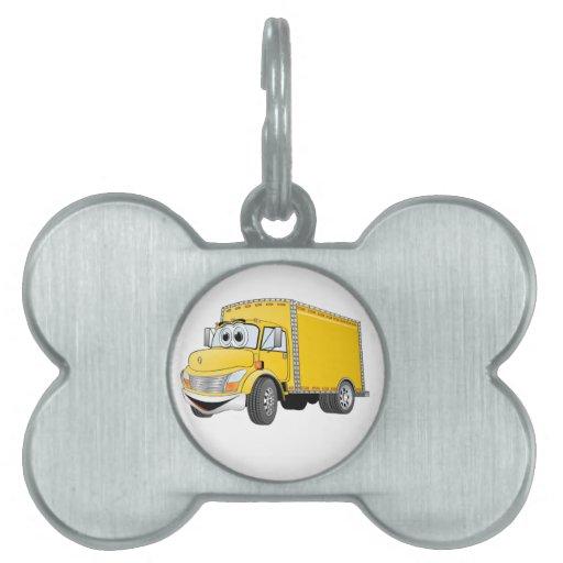 Dibujo animado amarillo del camión de reparto placa mascota