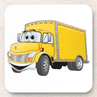 Dibujo animado amarillo del camión de reparto posavasos de bebidas