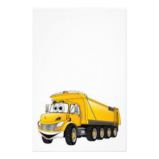 Dibujo animado amarillo del camión volquete 10w  papeleria