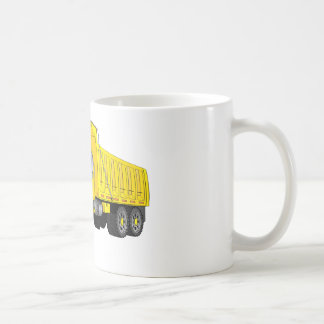 Dibujo animado amarillo del camión volquete taza de café