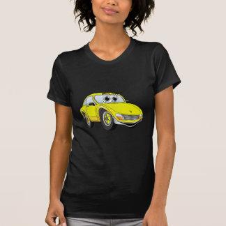 Dibujo animado amarillo del coche de deportes camisetas