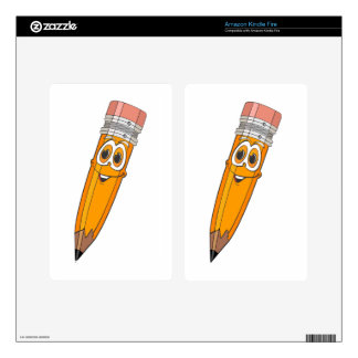 Dibujo animado amarillo del lápiz skin para kindle fire