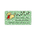 Dibujo animado amarillo del navidad de Labrador Etiquetas De Dirección