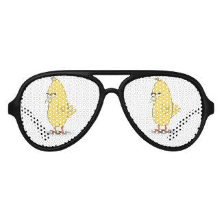Dibujo animado amarillo del pájaro lentes de sol