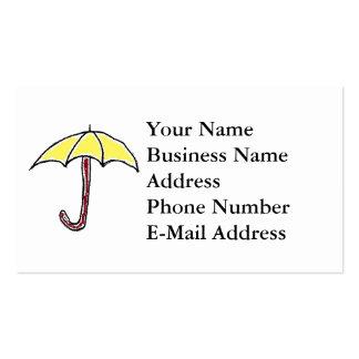 Dibujo animado amarillo del paraguas tarjetas de visita