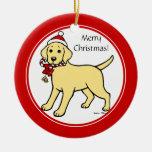 Dibujo animado amarillo del perrito de Labrador de Ornamento De Navidad