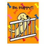 Dibujo animado amarillo del perrito de Labrador Tarjeta Postal