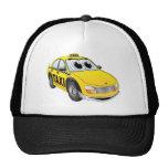 Dibujo animado amarillo del taxi gorras de camionero