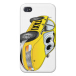 Dibujo animado amarillo del taxi iPhone 4 funda