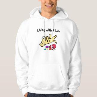 Dibujo animado amarillo divertido de Labrador Jersey Con Capucha