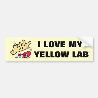 Dibujo animado amarillo divertido de Labrador Pegatina Para Auto