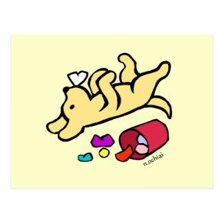 Dibujo animado amarillo divertido de Labrador Tarjeta Postal