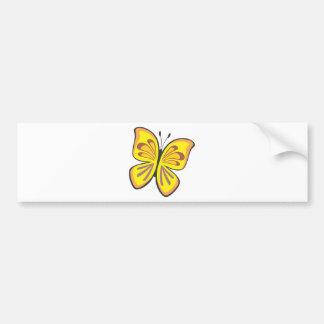 Dibujo animado amarillo fresco de la mariposa etiqueta de parachoque