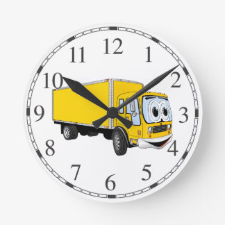 Dibujo animado amarillo grande del camión de reloj redondo mediano