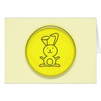 Dibujo animado amarillo lindo del conejito 3D Tarjeta De Felicitación