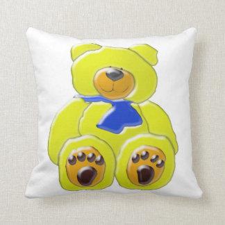 Dibujo animado amarillo mimoso grande del oso cojín