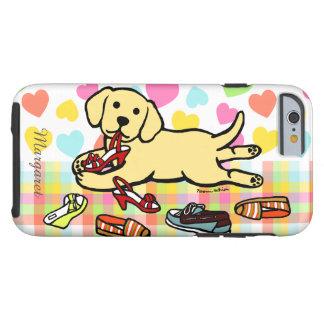Dibujo animado amarillo personalizado del perrito funda de iPhone 6 tough