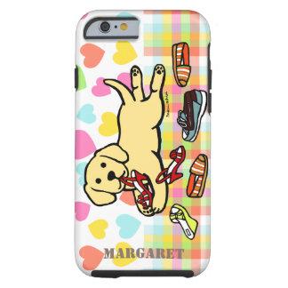 Dibujo animado amarillo personalizado del perrito funda para iPhone 6 tough