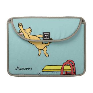 Dibujo animado amarillo personalizado del salto de fundas para macbooks