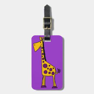 Dibujo animado amarillo y púrpura enrrollado de la etiquetas de equipaje