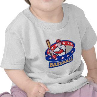 Dibujo animado americano del bateo del jugador de  camisetas