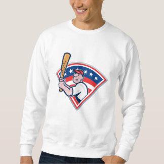 Dibujo animado americano del bateo del jugador de suéter