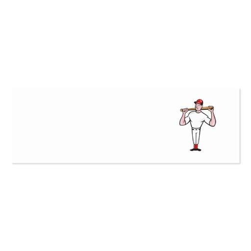 Dibujo animado americano del bateo del jugador de plantilla de tarjeta de visita