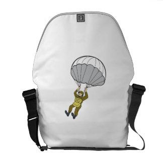 Dibujo animado americano del paracaídas del bolsa de mensajeria