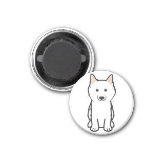 Dibujo animado americano del perro esquimal imán redondo 3 cm