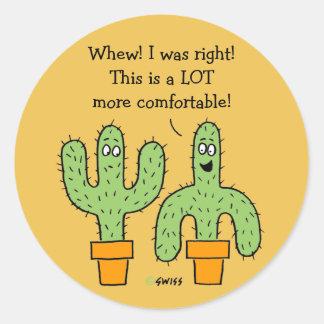 Dibujo animado americano divertido del cactus del pegatina redonda