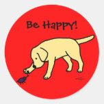 Dibujo animado amistoso Labrador del laboratorio Etiquetas Redondas