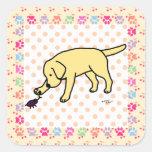 Dibujo animado amistoso Labrador del laboratorio Calcomanías Cuadradases