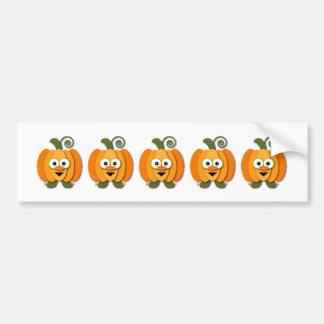 Dibujo animado anaranjado de Kawaii de la calabaza Pegatina Para Auto