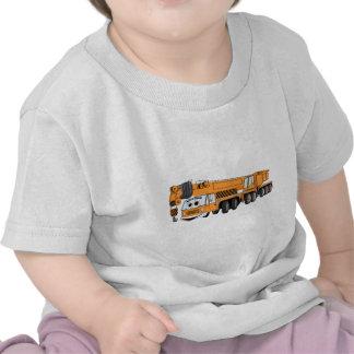 Dibujo animado anaranjado de la grúa camisetas