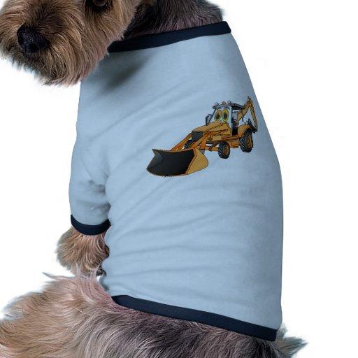 Dibujo animado anaranjado de la retroexcavadora camiseta con mangas para perro