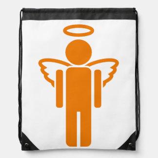 Dibujo animado anaranjado del ángel mochila