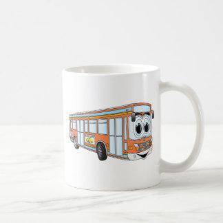 Dibujo animado anaranjado del autobús de la ciudad taza de café