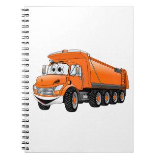 Dibujo animado anaranjado del camión volquete 10w libreta espiral