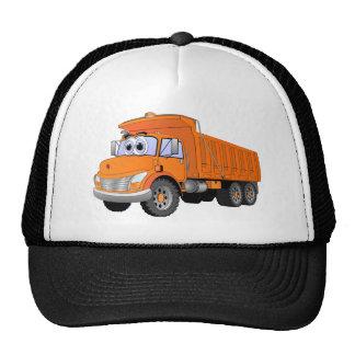 Dibujo animado anaranjado del camión volquete gorros bordados
