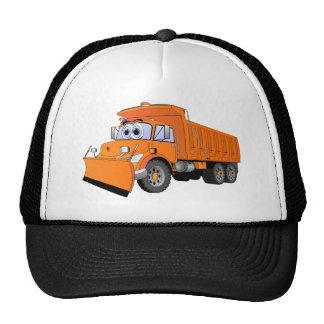 Dibujo animado anaranjado del camión volquete gorros