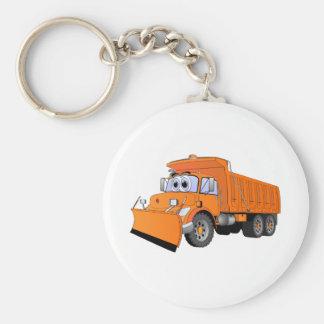 Dibujo animado anaranjado del camión volquete llavero redondo tipo pin