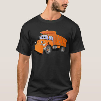 Dibujo animado anaranjado del camión volquete playera