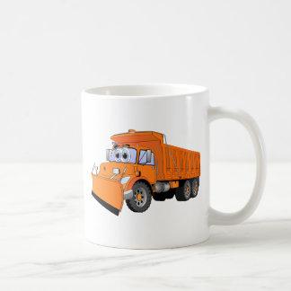 Dibujo animado anaranjado del camión volquete tazas