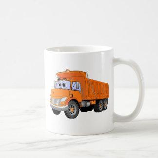 Dibujo animado anaranjado del camión volquete taza de café